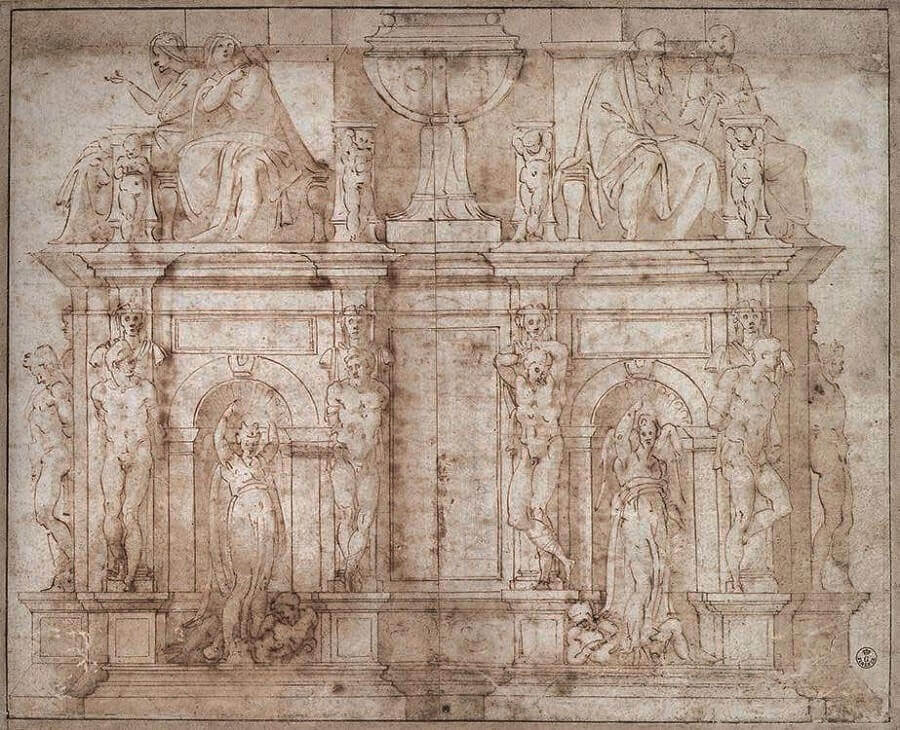 Drawing for the Tomb of Pope Julius II by Michelangelo